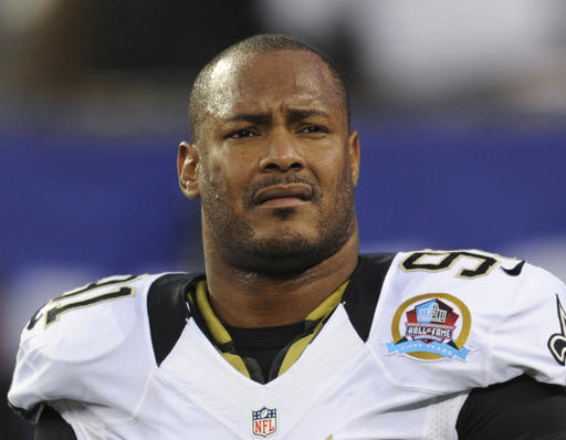 FILE - In this Dec. 9, 2012, file photo, New Orleans Saints defensive end Will Smith appears before an NFL football game against the New York Giants in East Rutherford, N.J. The trial for Cardell Hayes charged with second-degree murder in the April 9, 2016, shooting death of Smith begins with jury selection Monday, Dec. 5, 2016. (AP Photo/Bill Kostroun, File)