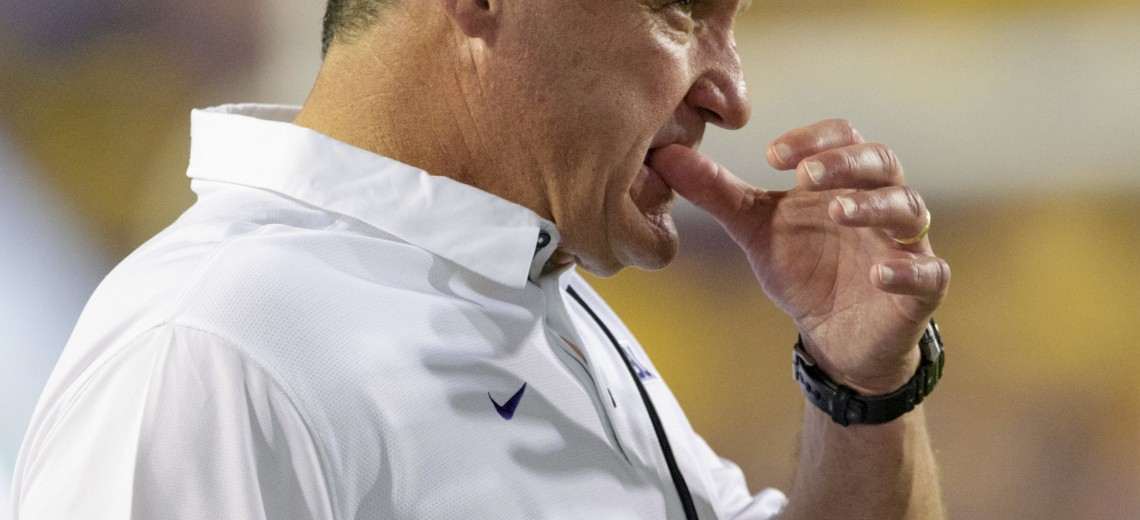 "FILE - In this Sept. 30, 2017, file photo, LSU head coach Ed Orgeron reacts as his team is intercepted by Troy in the second half of an NCAA college football game, in Baton Rouge, La. Orgeron says he, offensive coordinator Matt Canada and defensive coordinator Dave Aranda had a ""very positive"" meeting with Athletic Director Joe Alleva, discussing where the Tigers have gone wrong and how they can fix it. LSU has lost two of three, falling by 30 at Mississippi State and losing to a Troy team the Tigers were favored to beat by three touchdowns. (AP Photo/Matthew Hinton, File)"