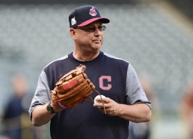 Cleveland Indians manager Terry Francona watches during a team workout, Wednesday, Oct. 4, 2017, in Cleveland. The Indians are scheduled play the New York Yankees in Game 1 of the ALDS on Thursday. (AP Photo/David Dermer)