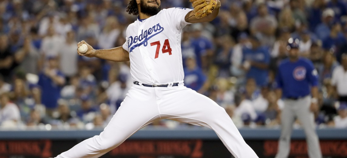 Los Angeles Dodgers relief pitcher Kenley Jansen throws to a Chicago Cubs batter during the eighth inning of Game 1 of baseball's National League Championship Series in Los Angeles, Saturday, Oct. 14, 2017. (AP Photo/Matt Slocum)